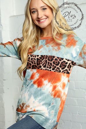 Plus Blue & Orange Tie Dye Animal Print Detail Blouse