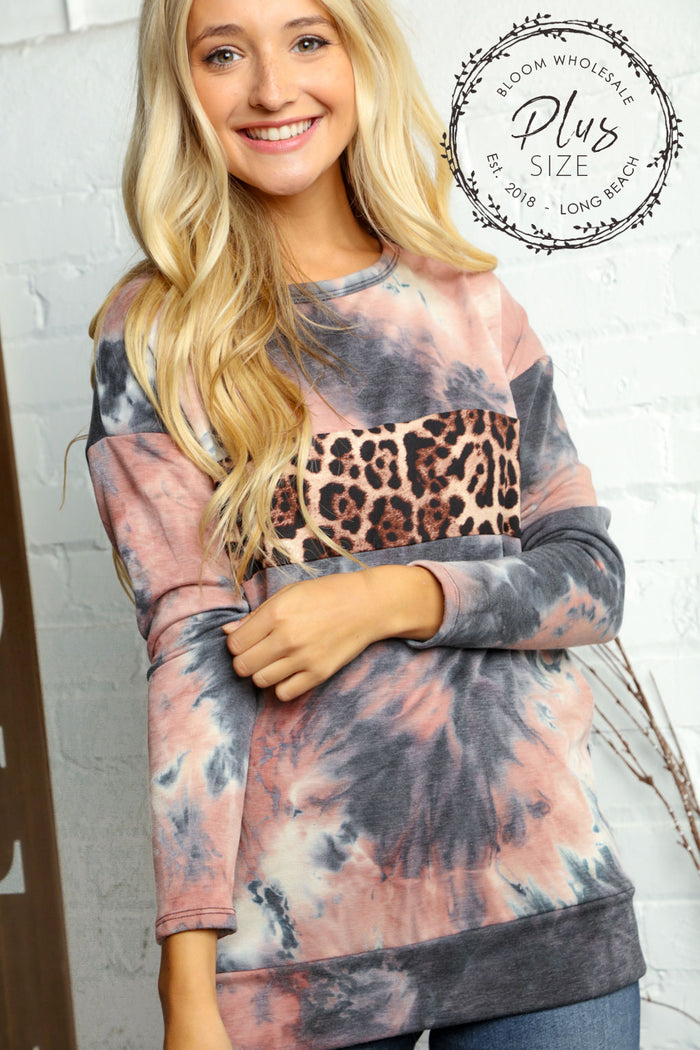Plus Mauve & Black Tie Dye Animal Print Detail Blouse