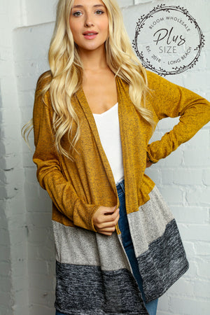 Plus Butterscotch Two Tone Color Block Open Cardigan