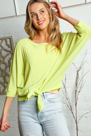 Neon Yellow Tie Hem Blouse