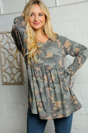 Olive Camo Babydoll Bubble Sleeve Blouse