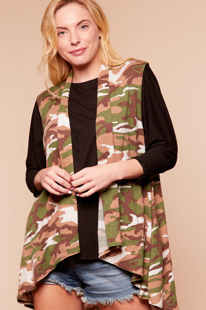 Camo Sleeveless Cardigan