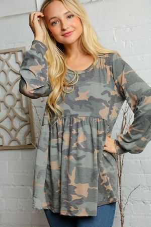 Plus Olive Camo Babydoll Bubble Sleeve Blouse