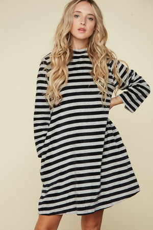 Black Stripe Back Key Hole Button Dress