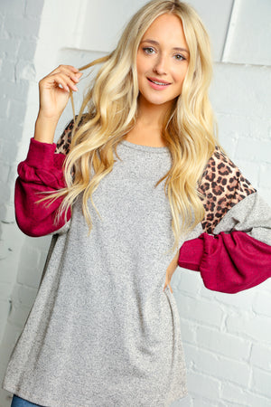 Taupe Raglan Animal Print Color Block Bubble Sleeve Blouse