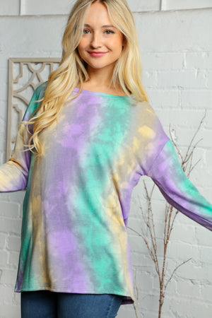 Plus Purple Green & Yellow Tie Dye Blouse