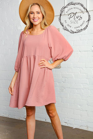 Plus Mauve Washed Woven Bubble Sleeve Babydoll Dress