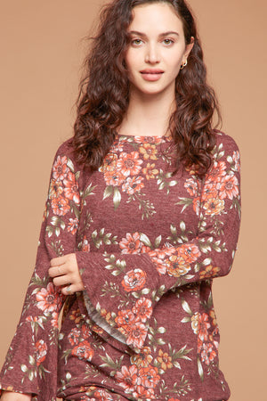 Rust Bell Sleeve Floral Blouse