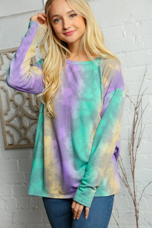 Purple Green & Yellow Tie Dye Blouse (3 pcs 1-1-1)