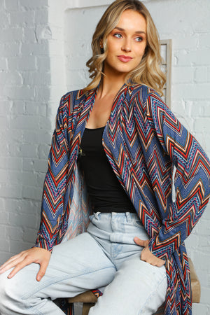 Plus Blue Design Print Cardigan
