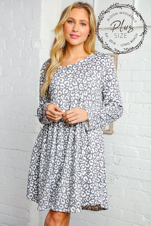 Plus Grey Animal Print Pocketed Babydoll Swing Dress