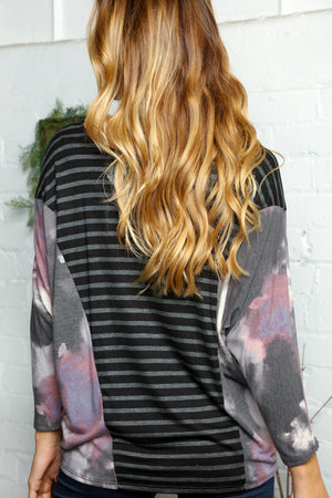 Plus Stripe Tie Dye Design Dolman Blouse