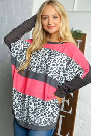 Charcoal & Pink Animal Print Color Block Two Tone Ribbed Blouse (2 pcs 1-1-0)