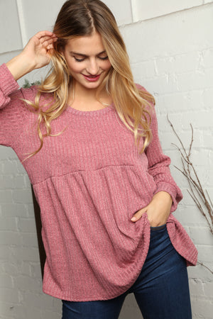 Mauve Ribbed Babydoll Bubble Sleeve Blouse