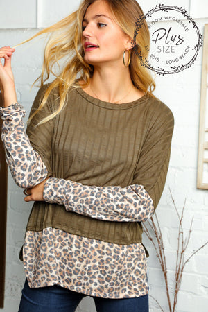 Plus Olive & Taupe Ribbed Animal Print Blouse