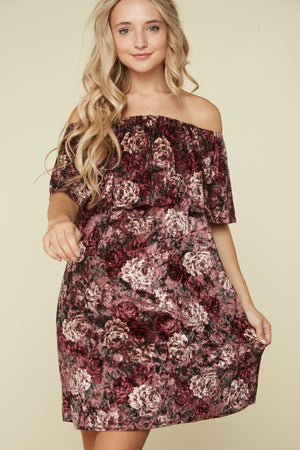 Mauve Velvet Floral Off Shoulder Dress