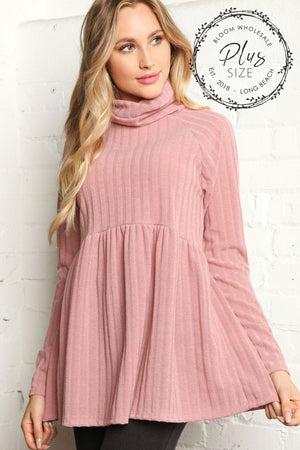 Plus Mauve Heavy Rib Hacci Turtleneck Babydoll Blouse