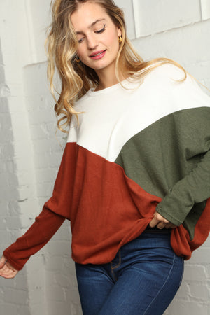 Rust & Ivory Color Block Dolman Blouse