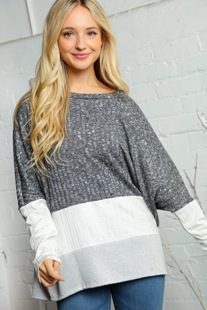 Plus Black Ivory & Grey Two Tone Rib Dolman Slouchy Blouse