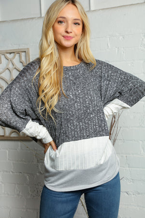 Black Ivory & Grey Two Tone Rib Dolman Slouchy Blouse
