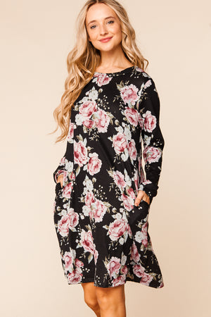 Black Floral Hacci Swing Dress