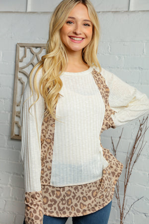 Taupe & Off Ivory Two Tone Rib Animal Print Out Seam Blouse