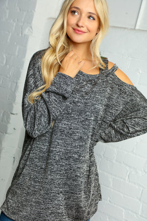 Charcoal Shoulder Cut Out Slouchy Blouse
