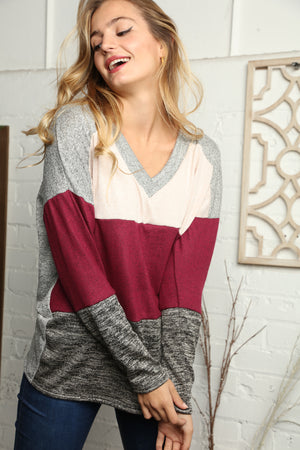 Plus Oatmeal Hacci Vneck Color Block Blouse