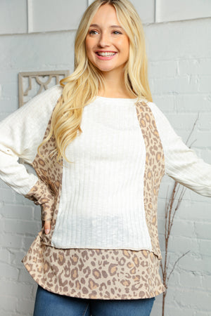 Plus Taupe & Off Ivory Two Tone Rib Animal Print Out Seam Blouse