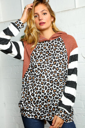 Rust Animal Print Color Block Raglan Stripe Hoodie