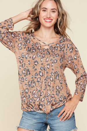 Animal Print Cross Front Blouse