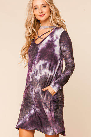 Purple Tie Dye Criss Cross Choker Dress