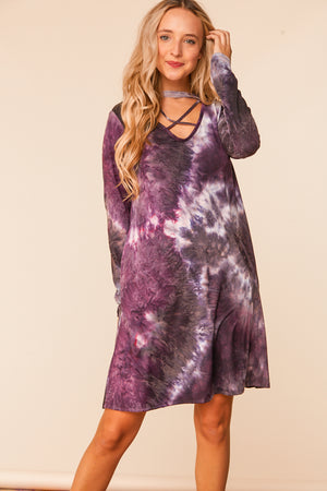 Plus Purple Tie Dye Criss Cross Choker Dress