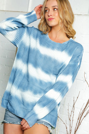 Blue & Ivory Stripe Tie Dye Sweater