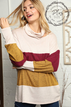 Plus Oatmeal & Wine Color Block Shoulder Cut Out Blouse