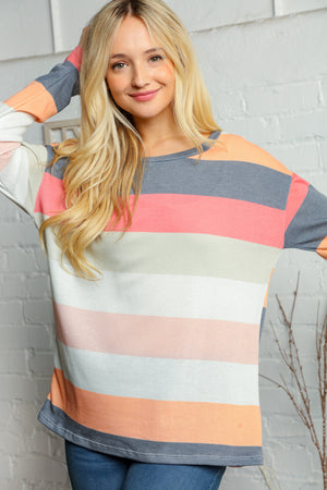 Plus Coral Black & Off Ivory Multi Color Stripe Thermal Blouse