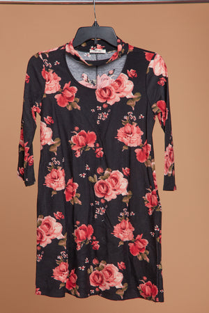 Black Floral Choker Tunic Dress with Pockets