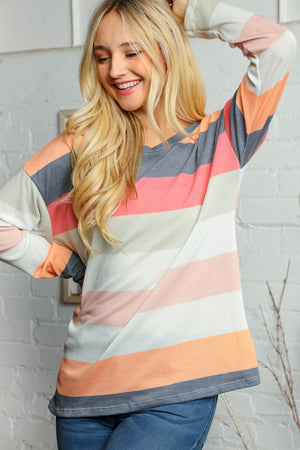 Coral Black & Off Ivory Multi Color Stripe Thermal Blouse