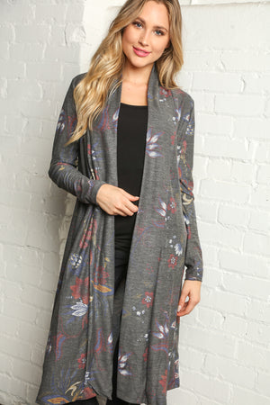 Plus Grey Floral Print Cardigan