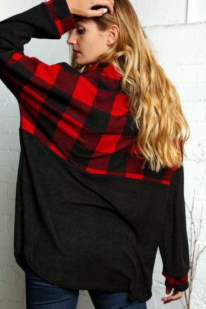 Plus Red Plaid Color Block Cowl Neck Sweater