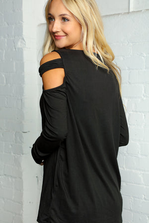 Black One Shoulder Cut Out Long Sleeve Blouse