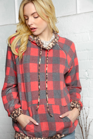 Plus Black & Red Plaid Animal Print Raglan Zipper Hoodie