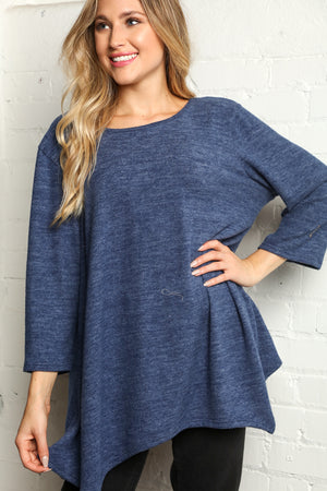 Plus Navy Hacci Two Tone Soft Solid Blouse