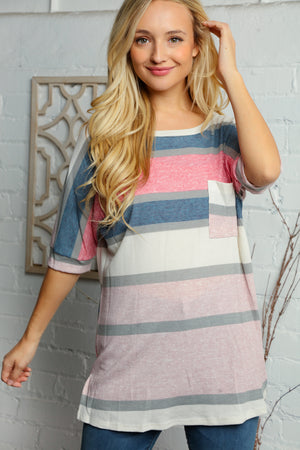 Ivory Multi Stripe Pocket Blouse