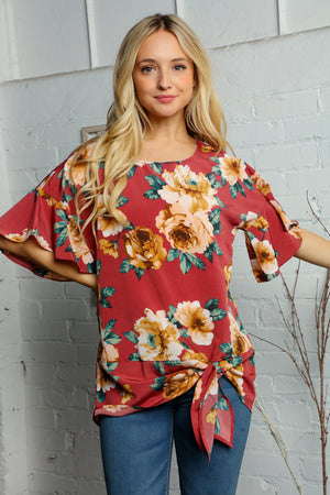 Off Red Floral Tie Hem Blouse