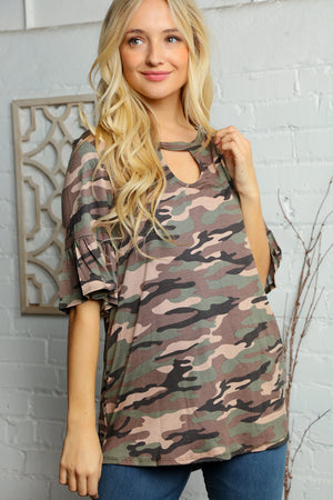 Camo Key Hole Bell Sleeve Blouse