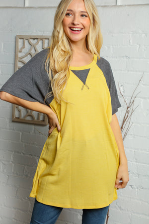 Plus Charcoal Grey & Yellow Raglan Blouse