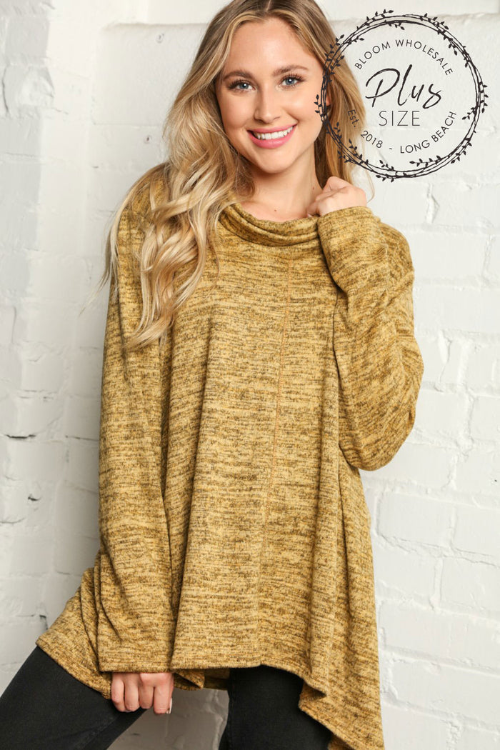 Plus Mustard Marled Cowl Neck Solid Blouse