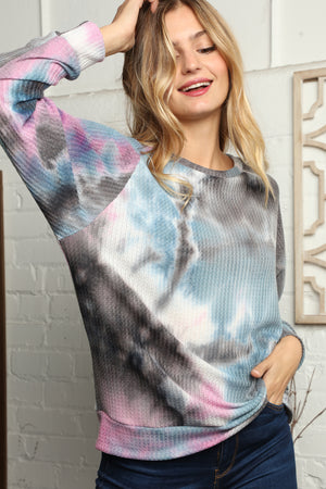 Blue & Purple Thermal Tie Dye Mix Blouse