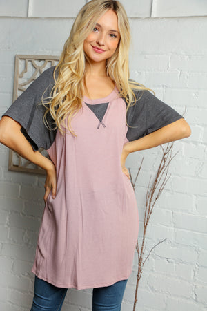 Plus Mauve & Charcoal Grey Raglan Blouse